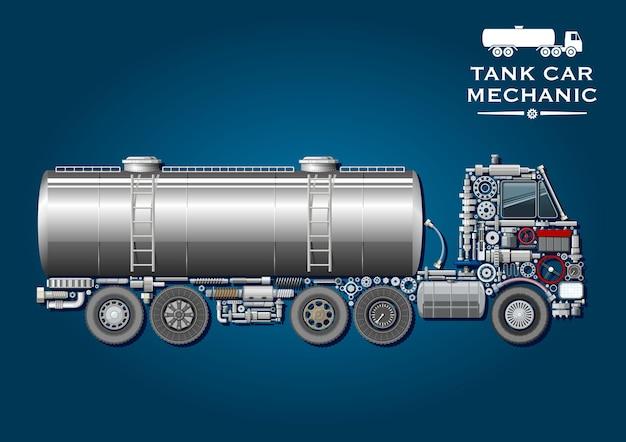 Modernes tankwagen-symbol mit kraftstofftanker mit zwei leiter und silhouette eines lkw-traktors, bestehend aus rädern, kurbelwelle, achsen, getriebe- und aufhängungssystemen, kugellagern, kraftstofftank Premium Vektoren