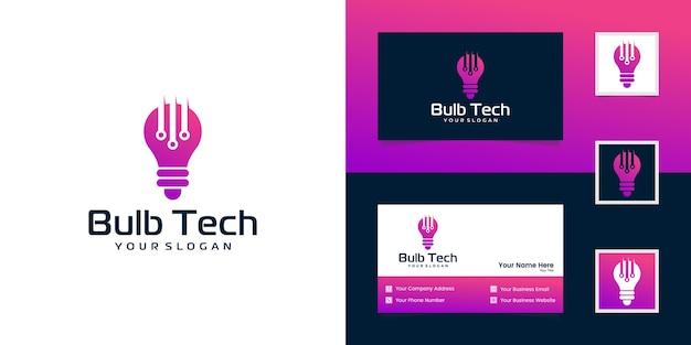 Modernes tech-lampenlogo und visitenkarte Premium Vektoren