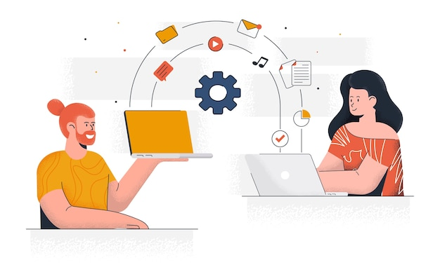 Modernes teilen von dateien. junger mann und frau arbeiten zusammen am projekt. büroarbeit und zeitmanagement. einfach zu bearbeiten und anzupassen. illustration Premium Vektoren