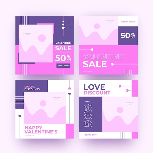 Modernes valentinstagsverkaufspostenpaket Kostenlosen Vektoren