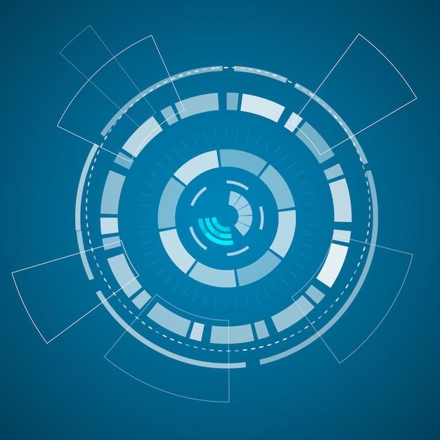 Modernes virtuelles technologieplakat mit verschiedenen technologischen elementen und formen auf dem blauen papier Kostenlosen Vektoren