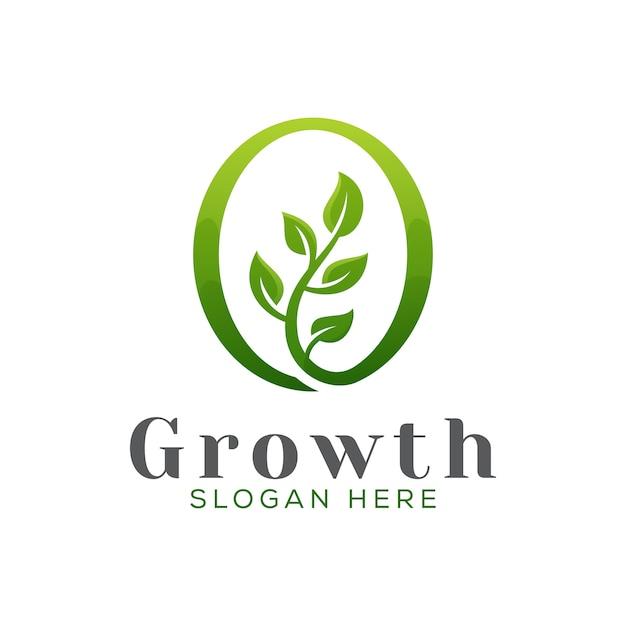 Modernes wachstumsbaumlogo, grüne gartenblattlogo-designvektorschablone Premium Vektoren