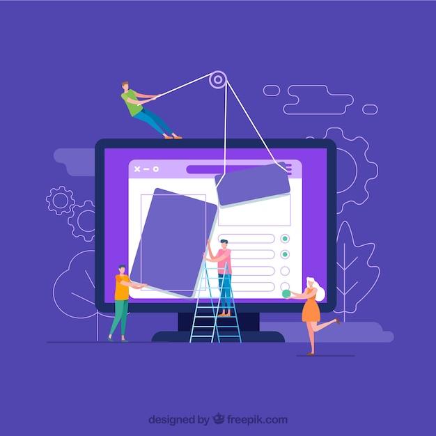 Modernes webdesignkonzept mit flachem design Kostenlosen Vektoren