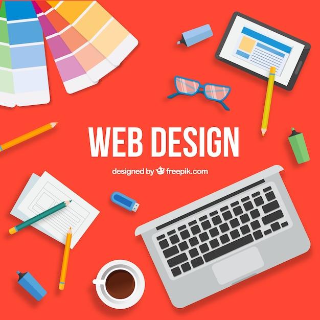 Modernes Webdesignkonzept mit flachem Design Kostenlose Vektoren