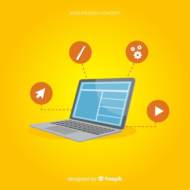 Modernes webdesignkonzept mit flacher art Kostenlosen Vektoren