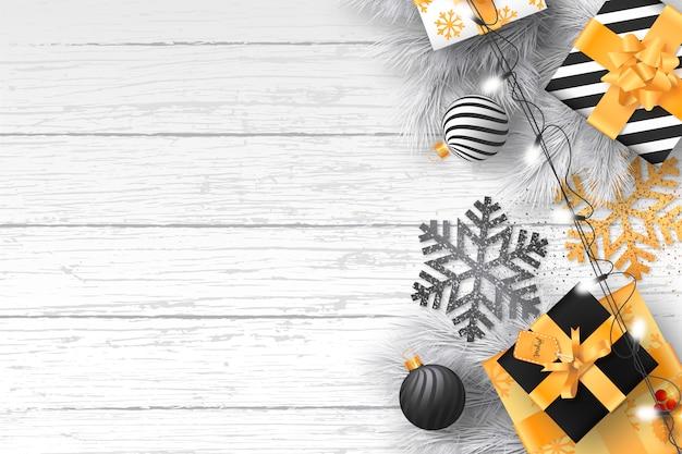 Modernes weihnachten mit eleganten verzierungen Kostenlosen Vektoren
