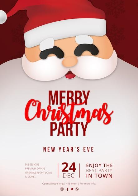 Modernes weihnachtsfeierplakat mit claus-hintergrund Kostenlosen Vektoren