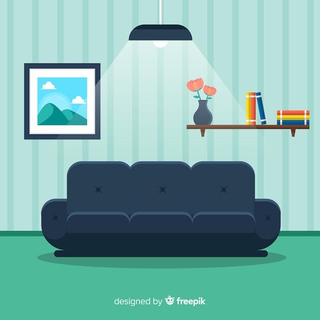 Modernes Wohnzimmer Innenarchitektur Mit Flachem Design Kostenlose Vektoren
