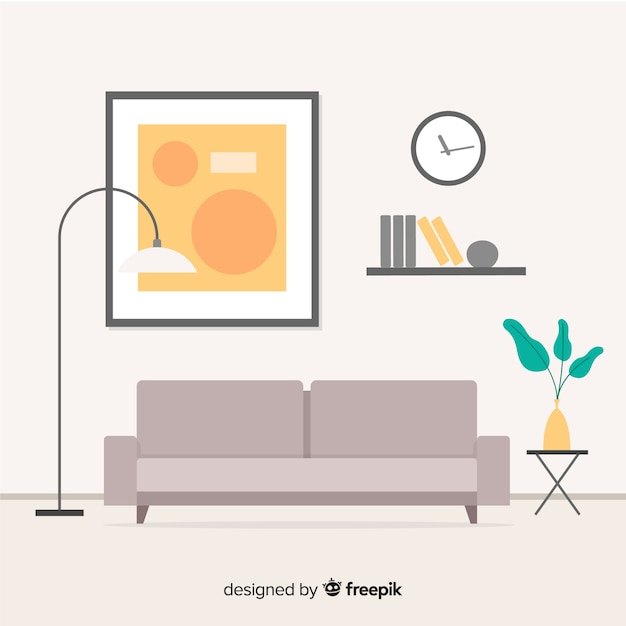 Modernes wohnzimmer innenarchitektur mit flachem design Kostenlosen Vektoren