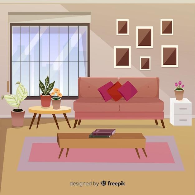 Modernes Wohnzimmer Mit Flachem Design Kostenlose Vektoren