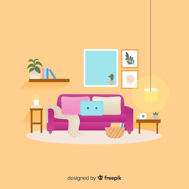 Modernes wohnzimmer mit flachem design Kostenlosen Vektoren