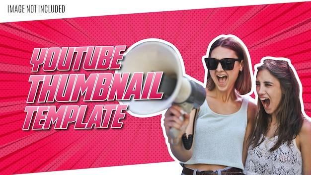 Modernes youtube-vorschaubild mit rosa comic-hintergrund Kostenlosen Vektoren