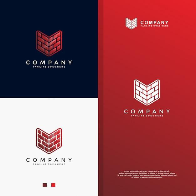 Modernes ziegelstein-logodesign Premium Vektoren