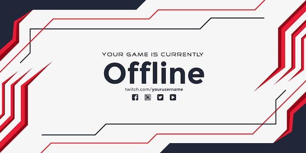 Modernes zuckendes offline-banner mit abstrakten roten formen Premium Vektoren