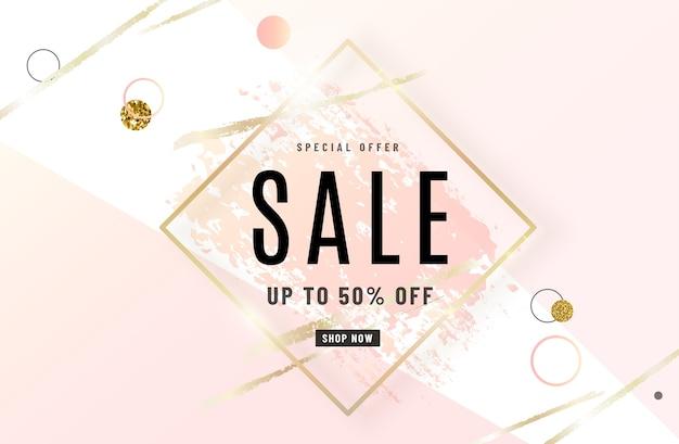 Modeverkauf banner design mit goldrahmen, aquarell rosa pinsel, sonderangebot text, geometrische elemente. Kostenlosen Vektoren