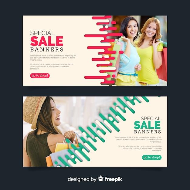 Modeverkauf banner-kollektion Kostenlosen Vektoren