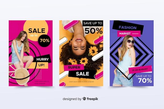 Modeverkaufs-fahnensammlung mit foto Kostenlosen Vektoren