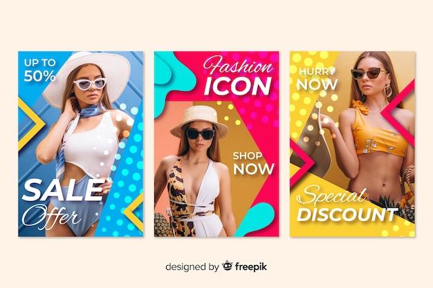 Modeverkaufsfahnen mit foto Kostenlosen Vektoren