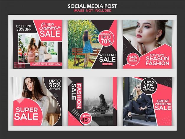 Modeverkaufsrabatt-fahnensatz Premium Vektoren