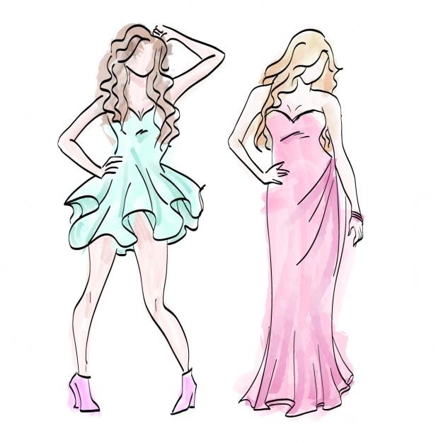 Modezeichnungen von frauen download der kostenlosen vektor for Disegni di casa alla moda