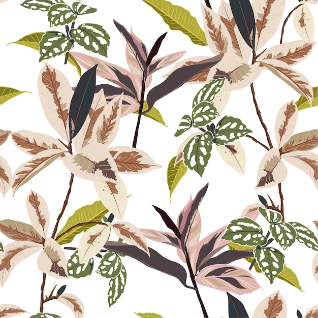 Modische botanische blätter im wald Premium Vektoren