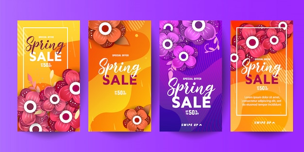 Modische editierbare vorlage frühling und sommer verkauf dekorative banner für geschichten sozialer netzwerke Premium Vektoren