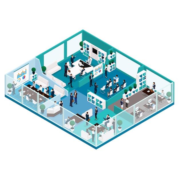 Modische isometrische leute, büroarbeitsillustration einer vorderansicht des geschäftskonzeptes mit einer glasfassade, büromöbel, arbeitsfluss, büroangestellte Premium Vektoren