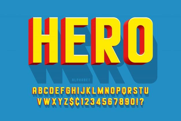Modische komische schriftart 3d, buntes alphabet, schriftbild Premium Vektoren