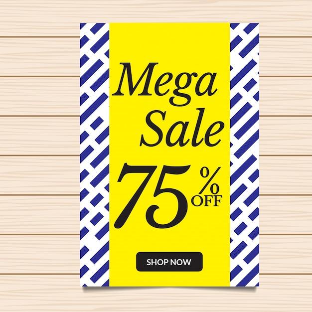 Modische mega sale banner und flyer illustration Kostenlosen Vektoren