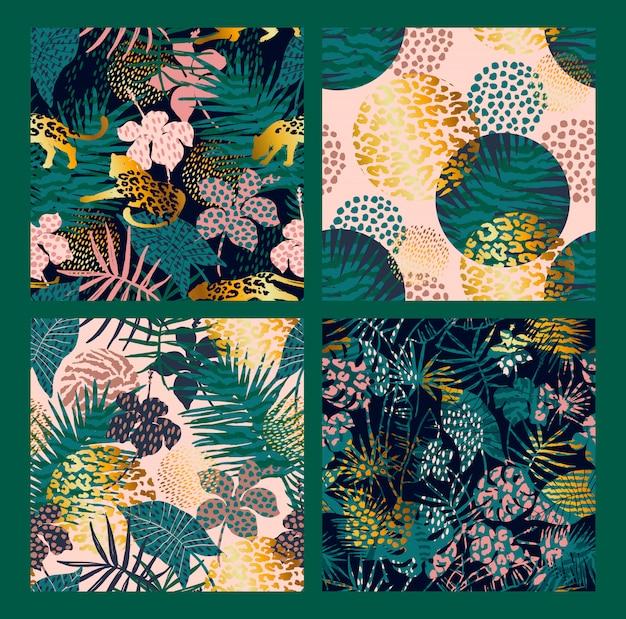 Modische nahtlose exotische muster mit palme, tierdrucken und hand gezeichneten beschaffenheiten Premium Vektoren