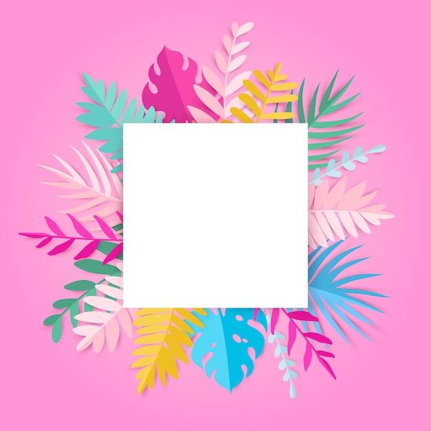 Modischer sommer-tropische blätter mit leerstelle auf rosa karte Premium Vektoren