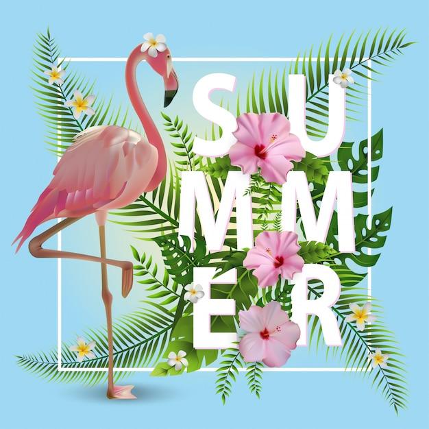 Modischer sommer-tropischer hintergrund Premium Vektoren