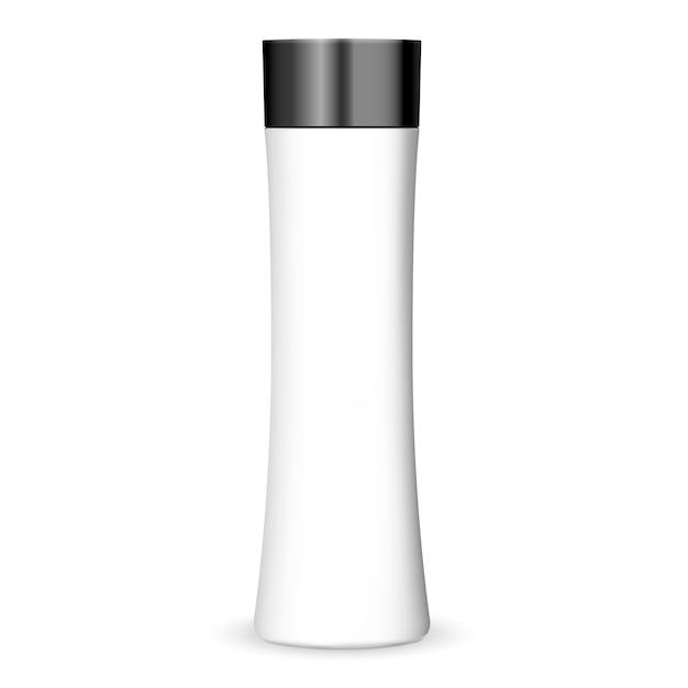 Modisches formkosmetik-flaschenmodell in der weißen farbe mit schwarzem deckel. Premium Vektoren