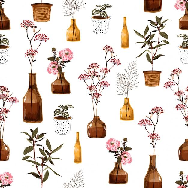 Modisches modernes nahtloses muster mit kreativen dekorativen blumen im vase, botanisch im topf, im vektor gerissen für mode, gewebe, tapete, die verpackung und alle drucke Premium Vektoren