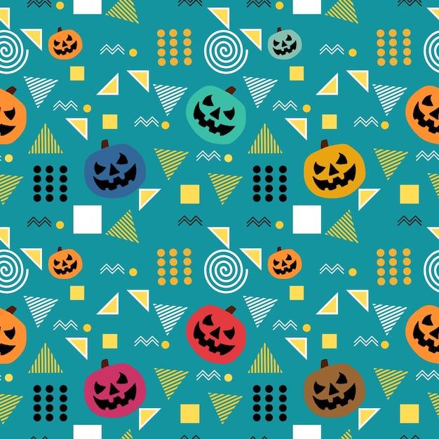 Modisches nahtloses halloween-muster memphis Premium Vektoren