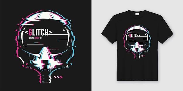 Modisches t-shirt und trendiges kleidungsdesign mit glitschigem flughelm Premium Vektoren