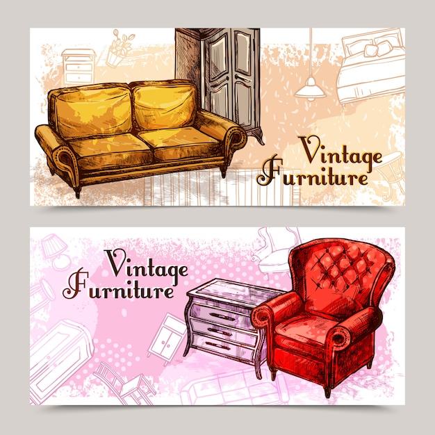 Möbel-banner-set Kostenlosen Vektoren