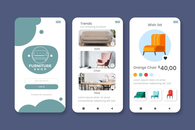 Möbel einkaufen app sammlung Kostenlosen Vektoren