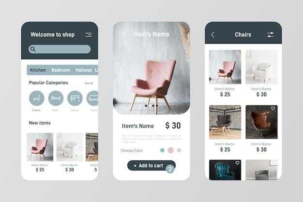 Möbel einkaufen app set Kostenlosen Vektoren