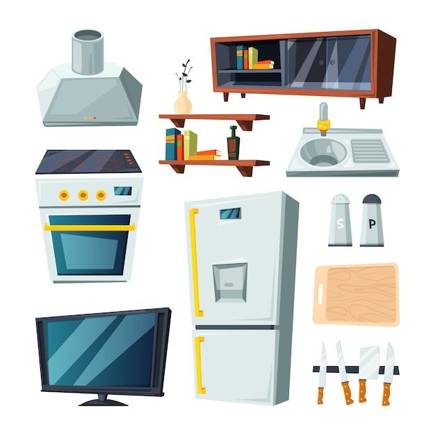 Möbel für küche und wohnzimmer Premium Vektoren