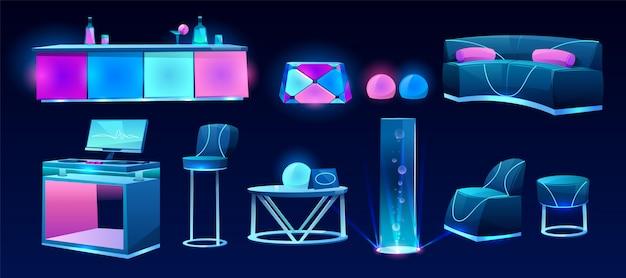 Möbel für nachtclub oder bar, innenarchitektur Kostenlosen Vektoren