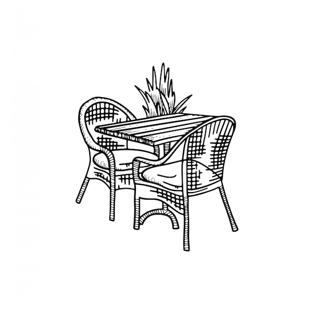 Möbel im sommercafé - zwei stühle mit tisch und pflanze. kaffee-bistro im freien. skizze hand gezeichnete illustration. Premium Vektoren