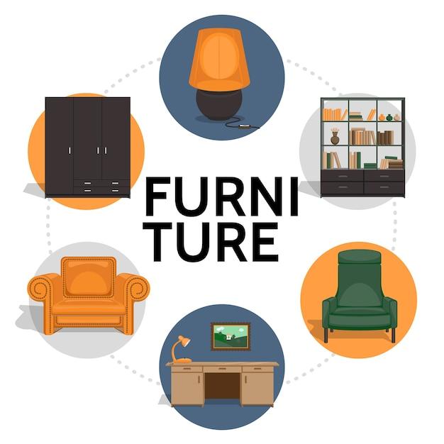 Möbel runde vorlage im flachen stil Kostenlosen Vektoren