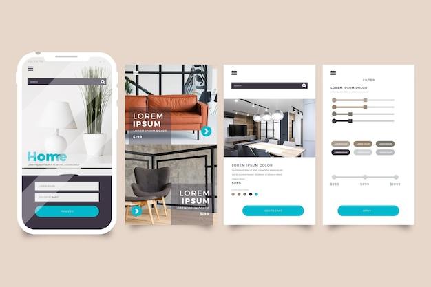 Möbel-shopping-app-oberfläche Kostenlosen Vektoren