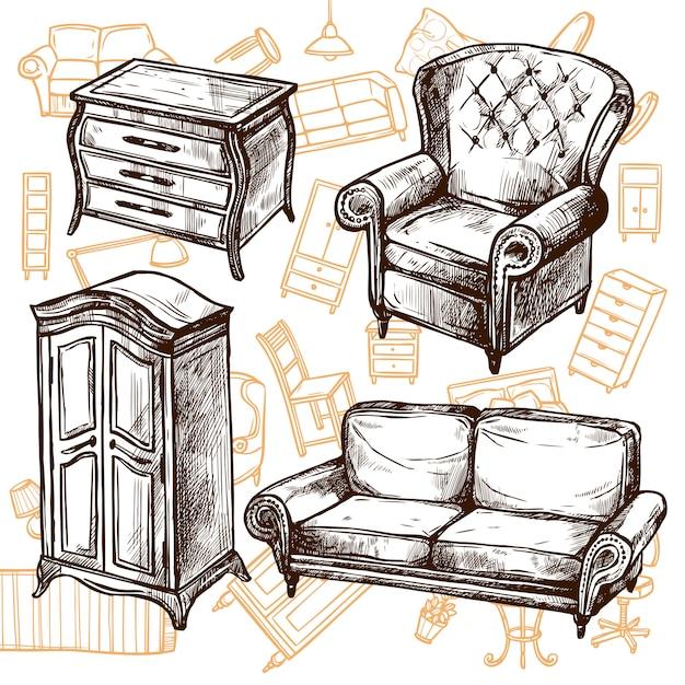 Möbel skizze nahtlose konzept Kostenlosen Vektoren
