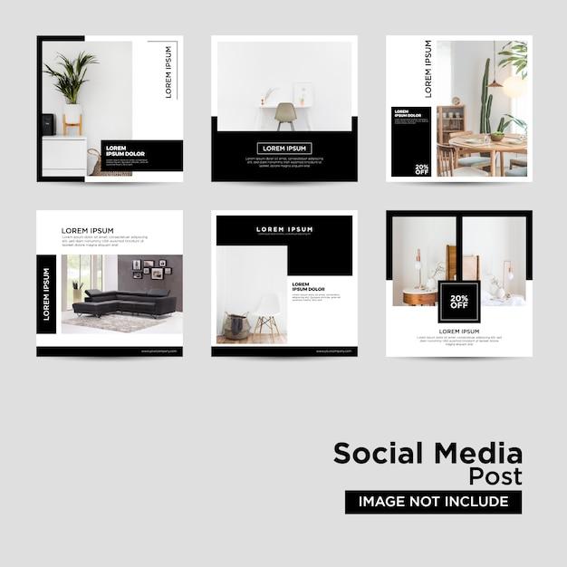 Möbel-social media-vorlage Premium Vektoren
