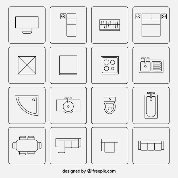 Möbel-symbole in der architektur plänen verwendet Kostenlosen Vektoren