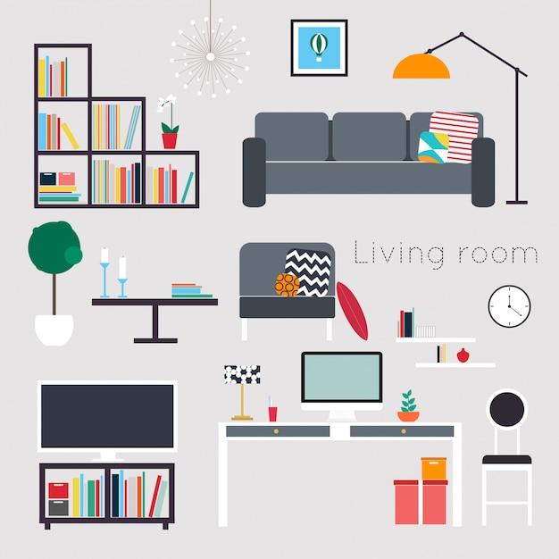 Möbel und wohnaccessoires, einschließlich sofas, liebessitz, sessel, couchtisch, beistelltische und heimdekoration Premium Vektoren