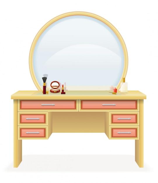 Möbel-vektorillustration der eitelkeitstabelle moderne Premium Vektoren