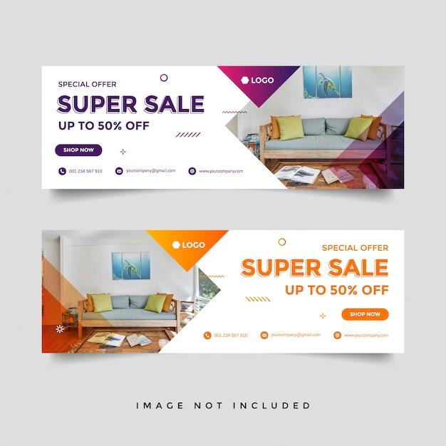 Möbel verkauf facebook cover banner werbung vorlage Premium Vektoren